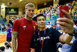 HONG KONG, CHINA - Tuesday, July 18, 2017: Liverpool's goalkeeper Loris Karius poses for a selfie during a Premier League skills kids event at the Macpherson Stadium ahead of the Premier League Asia Trophy 2017. (Pic by David Rawcliffe/Propaganda)