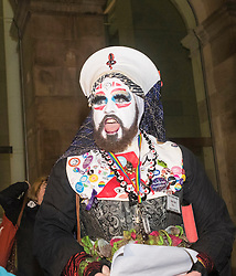 "Hundreds of protesters march through Edinburgh to campaign against incoming US president Donald Trump, coinciding with his inauguration in Washington.<br /> <br /> A Rite of Canonical Indictment & Excommunication of Donald J.Trump is performed by the Order of Perpetual Indulgence and will is conducted by Sister Ann Tici Pation OPI. Similar ceremonies are being performed throughout the world by OPI members.<br /> <br /> The text and structure of this excommunication rite is adapted from one introduced by the Pope Zachary in the 8th Century, as described in the Pontificale Romanum and practiced up until the Second Vatican Council in 1962. The ceremony traditionally involved a bishop, with twelve priests with candles, and is solemnly pronounced in some suitably conspicuous place. The bishop would then pronounce the formula of the anathema. After the pronouncement, the bishop would then ring a bell, close a holy book, and the assisting priests would snuff out their candles by dashing them to the ground, and thus was born the expression ""by bell, book and candle"".<br /> The Sisters and Brothers of the Order of Perpetual Indulgence are part of a worldwide order of queer people of all sexualities. Formed around 1979 in response to attacks on the queer community by fundamentalist religious organisations, its tenets are: <br /> The expiation of stigmatic guilt, and <br /> The promulgation of universal joy."