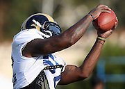 Los Angeles Rams outside linebacker Alec Ogletree (52) catches a pass during the Los Angeles Rams 2016 NFL training camp football practice held on Tuesday, Aug. 2, 2016 in Irvine, Calif. (©Paul Anthony Spinelli)