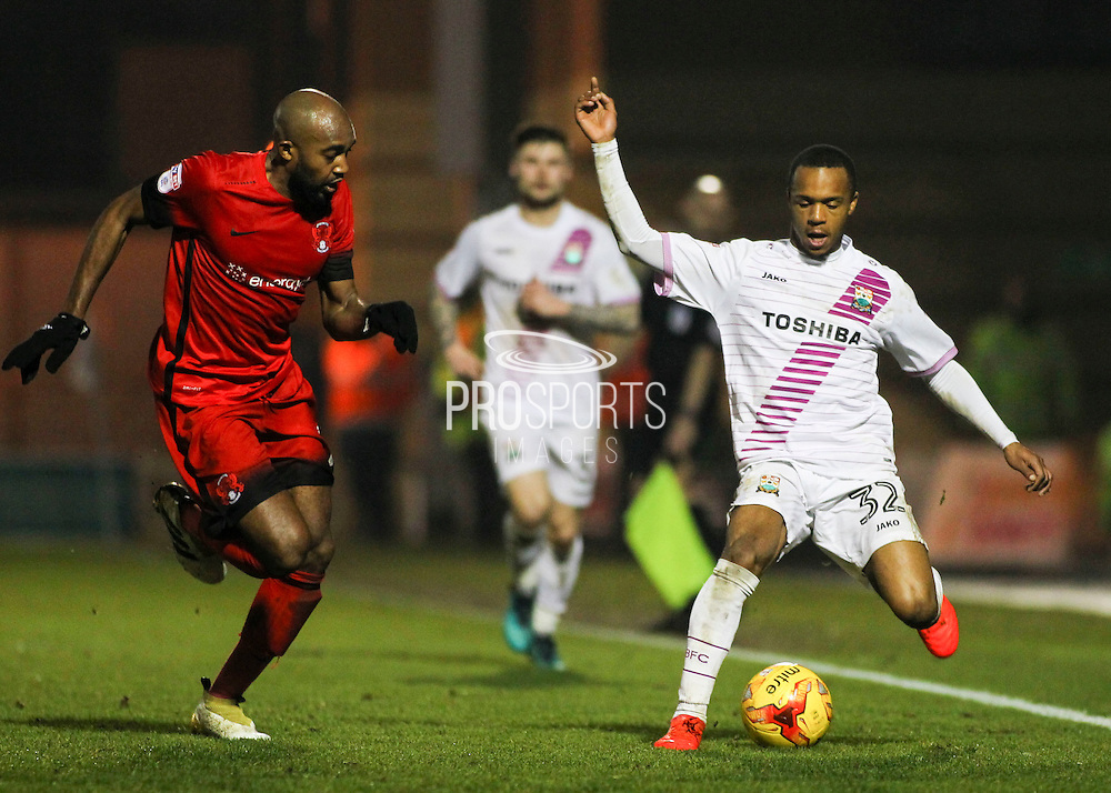 Mauro Vilhete holds up the ball on the wing during the EFL Sky Bet League 2 match between Leyton Orient and Barnet at the Matchroom Stadium, London, England on 7 January 2017. Photo by Jack Beard.