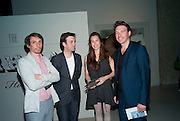 LUKAS BARRY; ANDY GROARKE; KATY EYRE; KEVIN CARMODY, The Surreal House Barbican art gallery afterwards SURREAL DINNER at Hoxton hall. London. 9 June 2010. -DO NOT ARCHIVE-© Copyright Photograph by Dafydd Jones. 248 Clapham Rd. London SW9 0PZ. Tel 0207 820 0771. www.dafjones.com.