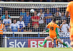 Colchester United's Macauley Bonne scores the opening goal of the game - Mandatory byline: Joe Dent/JMP - 07966386802 - 15/08/2015 - FOOTBALL - ABAX Stadium -Peterborough,England - Peterborough United v Colchester United - Sky Bet League One