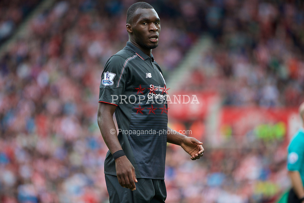 STOKE-ON-TRENT, ENGLAND - Sunday, August 9, 2015: Liverpool's Christian Benteke in action against Stoke City during the Premier League match at the Britannia Stadium. (Pic by David Rawcliffe/Propaganda)
