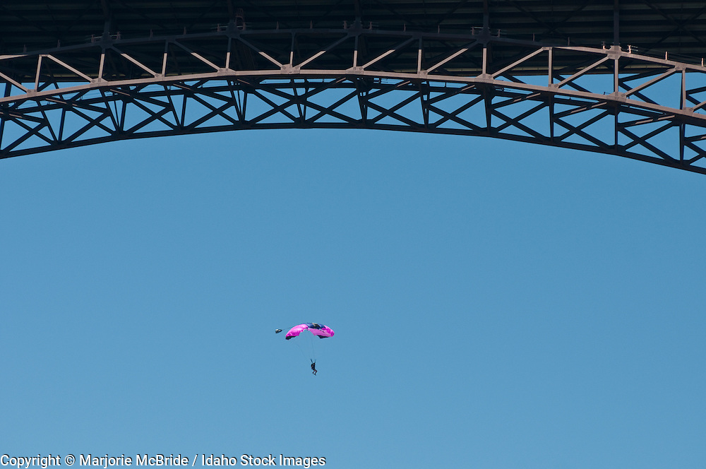 View of base jumping from below the Perrine Bridge on the Snake River in Twin Falls, Idaho.