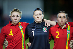 NEWTOWN, WALES - Friday, February 1, 2013: Wales'captain Lauren Price4, goalkeeper Alice Evans and Rhian Cleverly line up before the Women's Under-19 International Friendly match against Norway at Latham Park. (Pic by David Rawcliffe/Propaganda)