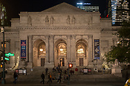 The Stephen A. Schwarzman Building of he New York Public Library after dark