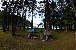Camping at Jones Island State Park, San Juan Islands, Washington, US