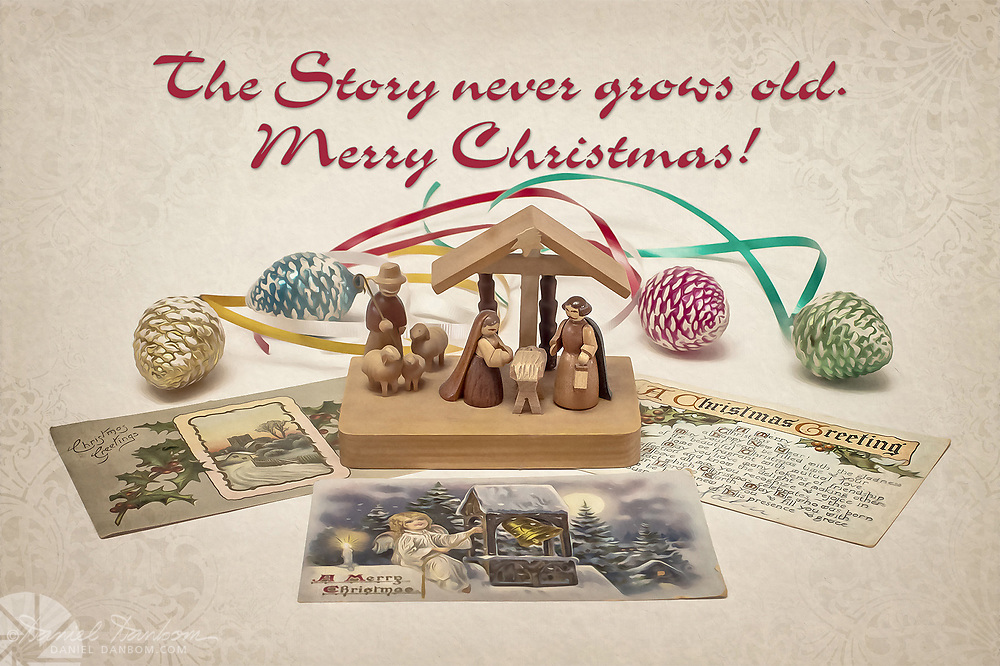 Christmas Greeting with the Nativity, ornaments, antique post cards.
