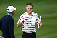 Tiger Woods with Mark Steinberg manager and sports agent<br /> WM Phoenix Open 2015, TPC Scottsdale, Arizona, USA<br /> January 2015<br /> Picture Credit:  Mark Newcombe / www.visionsingolf.com