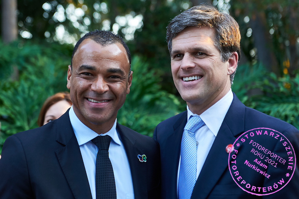 (L) Cafu and (R) Timothy Shriver pose to picture while Austria 2017 Reception during third day of the Special Olympics World Games Los Angeles 2015 on July 27, 2015 in Los Angeles, USA.<br /> USA, Los Angeles, July 27, 2015<br /> <br /> Picture also available in RAW (NEF) or TIFF format on special request.<br /> <br /> For editorial use only. Any commercial or promotional use requires permission.<br /> <br /> Adam Nurkiewicz declares that he has no rights to the image of people at the photographs of his authorship.<br /> <br /> Mandatory credit:<br /> Photo by &copy; Adam Nurkiewicz / Mediasport