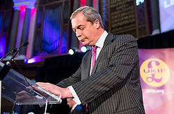 © Licensed to London News Pictures. 28/11/2016. London, UK. Former leader of UKIP, NIGEL FARAGE, speaking on stage ahead of the announcement of the new leader of the UK Independence Party (UKIP), at the Emmanuel Centre in Westminster London, where former deputy leader Paul Nuttall was elected the new leader.  Photo credit: Ben Cawthra/LNP