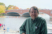 """Cambridge. MA. USA. Daniel James BROWN, Author, """"The Boys In The Boat"""" poses on the balcony of  of the Cambridge Boathouse.<br /> <br />  Saturday  19/10/2013 <br /> <br /> [Mandatory Credit. Peter SPURRIER /Intersport Images]"""