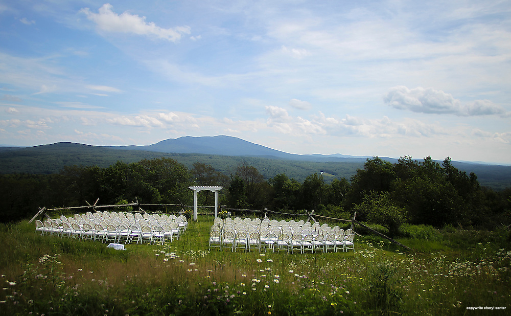 The nuptial site for novelist and writer Joyce Maynard and Jim Barringer's wedding ceremony in Harrisville, N.H., Saturday, July 6, 2013.  (Cheryl Senter for the New York Times)