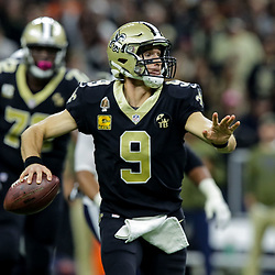 Nov 4, 2018; New Orleans, LA, USA; New Orleans Saints quarterback Drew Brees (9) throws against the Los Angeles Rams during the first half at the Mercedes-Benz Superdome. Mandatory Credit: Derick E. Hingle-USA TODAY Sports