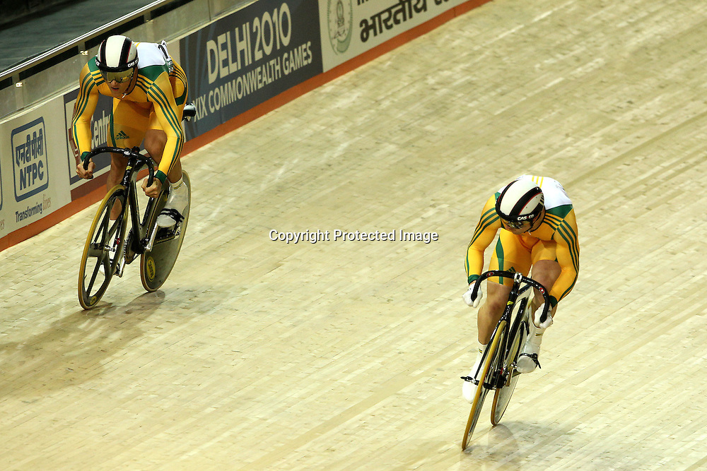 Shane Perkins and Scott Sunderland of Australia sprint for the finish during the men's sprint final held at the velodrome at the Indira Gandhi Sports Complex in New Delhi, India on the 7 October 2010<br /> <br /> Photo by:  Ron Gaunt/SPORTZPICS/PHOTOSPORT