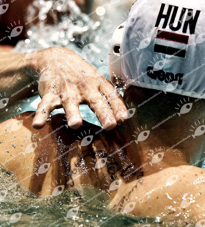 Eindhoven , Netherlands (NED) 16 - 29 January 2012.LEN European  Water Polo Championships 2012.Day 01 - Men.HUN (White) - ITA (Blue)..HUN.4 HOSNYANSZKY Norbert.ITA.4 FIGLIOLI Pietro..Photo G.Scala/Deepbluemedia.eu