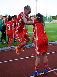 NEWPORT, WALES - Tuesday, June 12, 2018: Wales' Jessica Fishlock (left) and Natasha Harding (right) celebrate after beating Russia 3-0 during the FIFA Women's World Cup 2019 Qualifying Round Group 1 match between Wales and Russia at Newport Stadium. (Pic by David Rawcliffe/Propaganda)