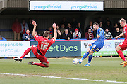 Rhys Murphy of AFC Wimbledon shoots at Yorks goal during the Sky Bet League 2 match between AFC Wimbledon and York City at the Cherry Red Records Stadium, Kingston, England on 19 March 2016. Photo by Stuart Butcher.