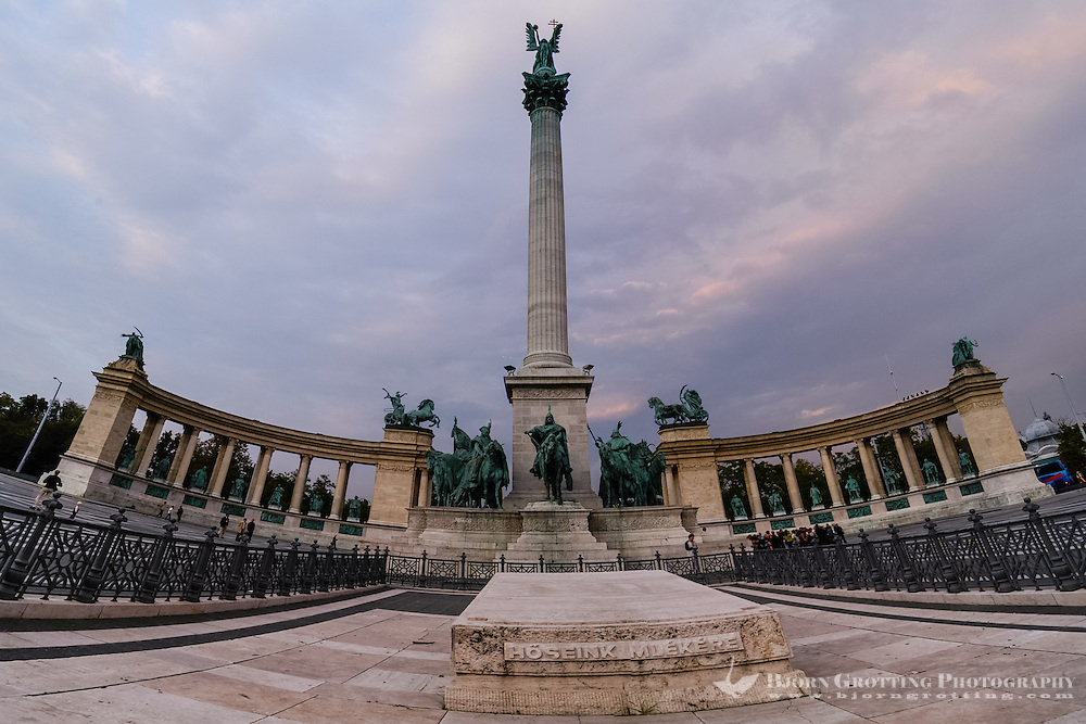 Budapest, Hungary.  The Millennium Monument in Heroes' Square.