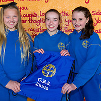 Sophia Walsh, Aoibhean Meaney and Leah Keane with the school string bag