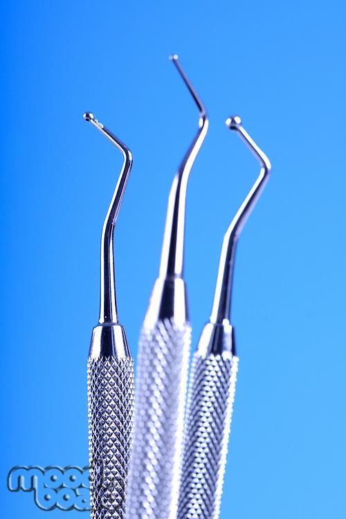 Dental Tools on blue background