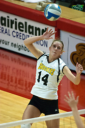 16 September 2006  Shocker Angela Jakubov strikes the ball from the outside. .The Wichita State Shockers ruled the Illinois State Redbirds roost taking 3 straight games and the match in Missouri Valley Conference play. The match took place at Redbird Arena on the campus of Illinois State University in Normal Illinois.