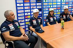 Denis Steharnik, Meta Hrovat, Tina Robnik and Ana Bucik at press conference of Slovenian Alpine Ski Team, on September 11, 2017 in Smucarska zveza Slovenije, Ljubljana, Slovenia. Photo by Matic Klansek Velej / Sportida