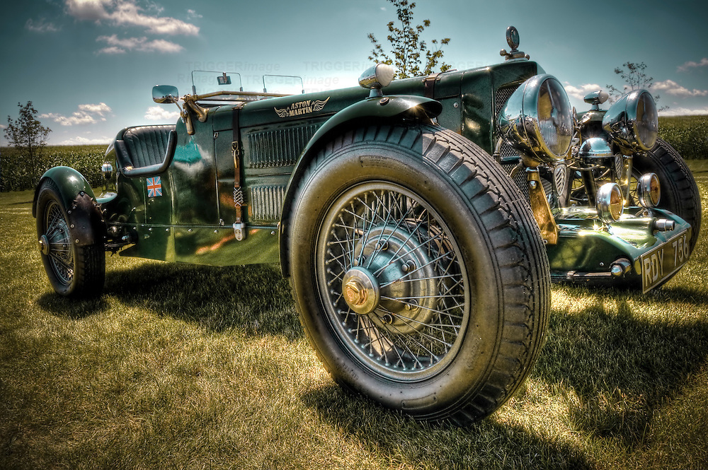 Vintage Aston Martin car with wire wheels
