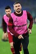 Aleksandar Kolarov of Roma warming up before the UEFA Europa League, Group J football match between AS Roma and Wolfsberg AC on December 12, 2019 at Stadio Olimpico in Rome, Italy - Photo Federico Proietti / ProSportsImages / DPPI
