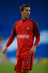 CARDIFF, WALES - Thursday, August 9, 2018: FC Midtjylland's Gustav Wikheim during the UEFA Europa League Third Qualifying Round 1st Leg match between The New Saints FC and FC Midtjylland at Cardiff City Stadium. (Pic by David Rawcliffe/Propaganda)
