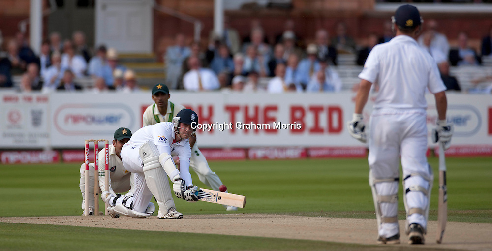 Stuart Broad bats during his century in the final npower Test Match between England and Pakistan at Lord's.  Photo: Graham Morris (Tel: +44(0)20 8969 4192 Email: sales@cricketpix.com) 28/08/10