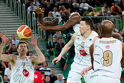 Vlado Ilievski of Union Olimpija  passes to Vladimer Boisa of Union Olimpija but Christopher Booker of Krka intercepted the ball during second semi-final match of Basketball NLB League at Final four tournament between KK Union Olimpija and Krka (SLO), on April 19, 2011 at SRC Stozice, Ljubljana, Slovenia. (Photo By Matic Klansek Velej / Sportida.com)