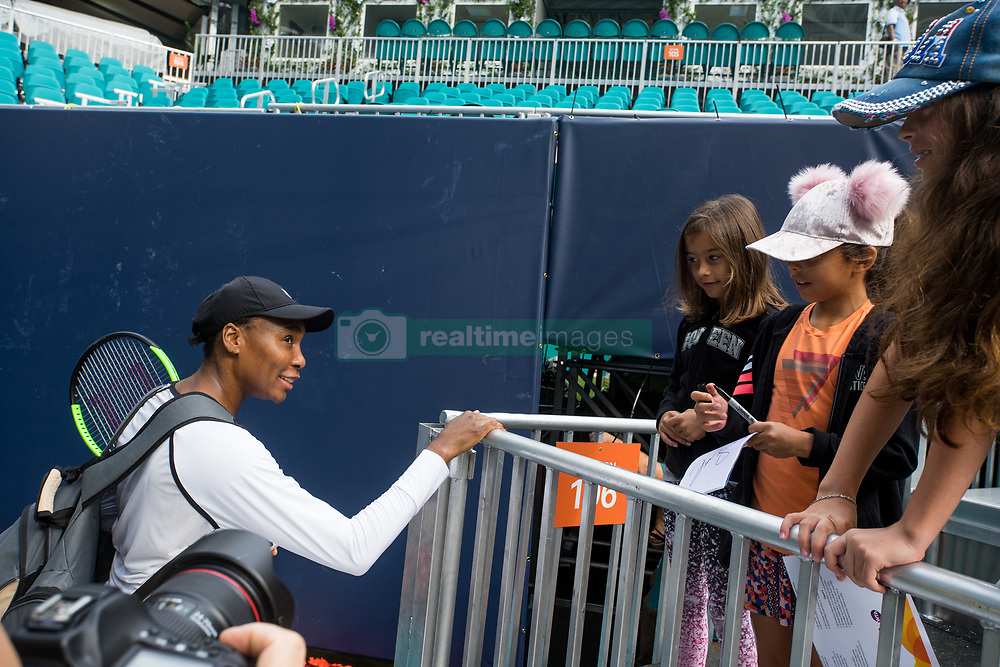 March 18, 2019 - Miami Gardens, FL, U.S. - MIAMI GARDENS, FL - MARCH 18: Venus Williams (USA) signs autographs for fans after practicing during the Miami Open on March 18, 2019 at Hard Rock Stadium in Miami Gardens, FL. (Photo by Aaron Gilbert/Icon Sportswire) (Credit Image: © Aaron Gilbert/Icon SMI via ZUMA Press)
