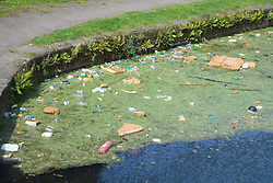Polluted area of the Leeds and Liverpool canal Bootle; Liverpool; England,
