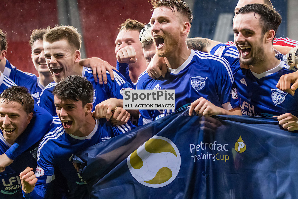 Peterhead's Rory McAllister and the rest of team celebrating making it to the final during the Queen's Park FC V Peterhead FC Petrofac Training Cup semi-final played at Hampden Park, Glasgow on 14th November 2015; (c) BERNIE CLARK | SportPix.org.uk