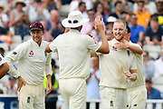 Wicket - Jonny Bairstow of England celebrates taking the wicket of Dinesh Karthik of India during second day of the Specsavers International Test Match 2018 match between England and India at Edgbaston, Birmingham, United Kingdom on 2 August 2018. Picture by Graham Hunt.