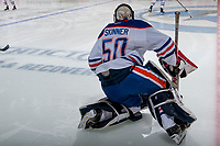 PENTICTON, CANADA - SEPTEMBER 9: Stuart Skinner #50 of Edmonton Oilers warms up against the Winnipeg Jets on September 9, 2017 at the South Okanagan Event Centre in Penticton, British Columbia, Canada.  (Photo by Marissa Baecker/Shoot the Breeze)  *** Local Caption ***