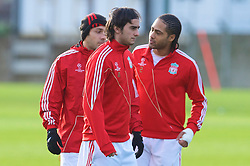 LIVERPOOL, ENGLAND - Tuesday, December 8, 2009: Liverpool's Alberto Aquilani and Glen Johnson during a training session at Melwood ahead of the UEFA Champions League Group E match against AFC Fiorentina. (Pic by David Rawcliffe/Propaganda)
