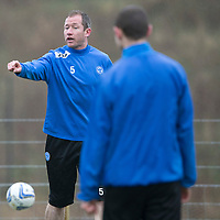St Johnstone Preview....04.04.14<br /> Frazer Wright pictured during training this morning ahead of tomorrow's game at Kilmarnock<br /> Picture by Graeme Hart.<br /> Copyright Perthshire Picture Agency<br /> Tel: 01738 623350  Mobile: 07990 594431