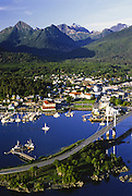 Alaska. Sitka. Aerial of O'Connell Bridge, with Sitka Channel and Sitka with The Sisters Mts beyond.