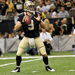 August 25, 2012; New Orleans, LA, USA; New Orleans Saints quarterback Drew Brees (9) against the Houston Texans during the first half of a preseason game at the Mercedes-Benz Superdome. The Saints defeated the Texans 34-27. Mandatory Credit: Derick E. Hingle-US PRESSWIRE