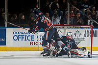 KELOWNA, CANADA - MARCH 24: Tomas Soustal #15 of the Kelowna Rockets scores a goal on Connor Ingram #39 while being checked by Quinn  Benjafield #22 of the Kamloops Blazers on March 24, 2017 at Prospera Place in Kelowna, British Columbia, Canada.  (Photo by Marissa Baecker/Shoot the Breeze)  *** Local Caption ***