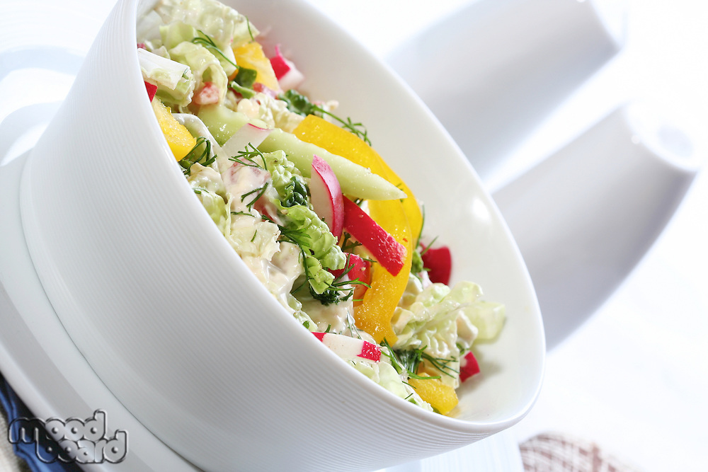 Close up of spring salad in bowl