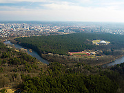 High-angle view of Vilnius, Lithuania, with the Neris River running through town and Vingis Park in the lower right; taken from the Vilnius TV Tower.