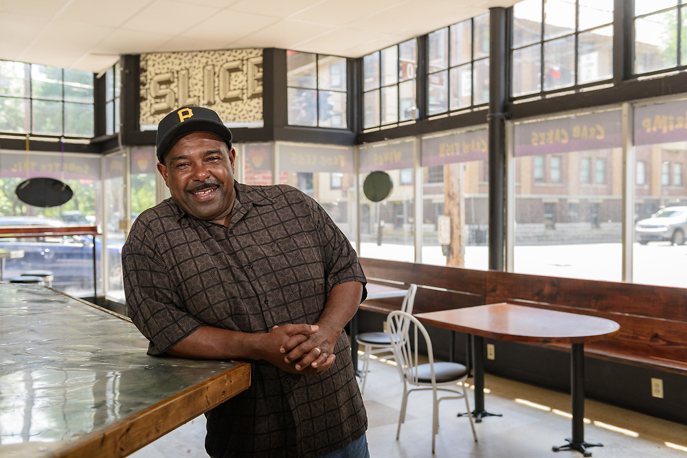 Barry Washington, owner of Barry's Cheesesteaks & More at 7502 Preston Highway, visits the space for his new second location at the corner of Second and Oak streets in Old Louisville. June 18, 2018 (Photo by Brian Bohannon)