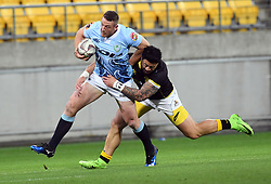 Northland's Jordan Hyland, left, is tackled by Wellington's Ben Lam in the Mitre 10 Rugby match at Westpac Stadium, Wellington, New Zealand, Thursday, October 12 2017. Credit:SNPA / Ross Setford  **NO ARCHIVING**