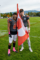 KELOWNA, BC - OCTOBER 6: Alex Douglas #1 and Kian Ishani #8 of Okanagan Sun stand on the field after the win against the VI Raiders at the Apple Bowl on October 6, 2019 in Kelowna, Canada. (Photo by Marissa Baecker/Shoot the Breeze)