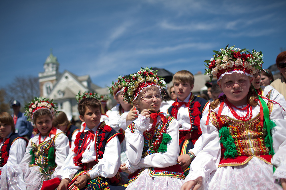 Students from the Maki Polish Dance School Ocean County, NJattend the Devine Mercy Sunday mass at The National Shrine of The Devine Mercy in Stockbridge, Mass., on Sunday, May 1, 2011. Event organizers, The Marian Fathers of The Immaculate Conception on Eden Hill, estimated 17,000 pilgrims attended the mass.  (Matthew Cavanaugh for The Boston Globe)