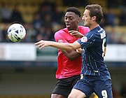 Southend player David Mooney and Peterborough United player Ricardo Santos battle for possession during the Sky Bet League 1 match between Southend United and Peterborough United at Roots Hall, Southend, England on 5 September 2015. Photo by Bennett Dean.