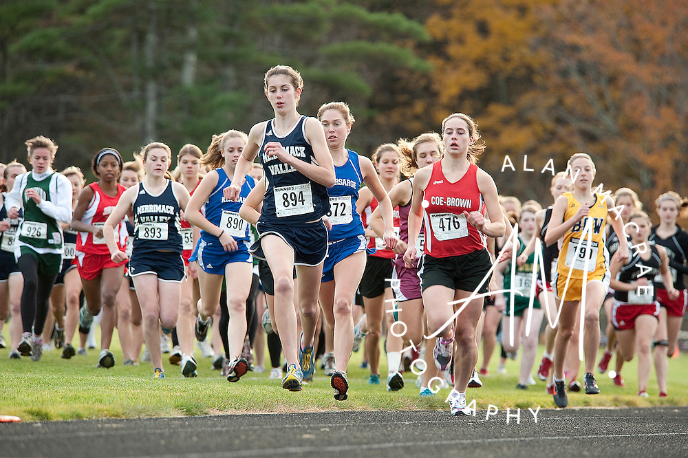 Merrimack Valley's Brianna Tevnan leads the pack at the start of Friday's Capital Area Cross Country invitational at Belmont High School.  (Alan MacRae/for the Citizen)
